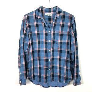 Madewell | Blue Plaid Button Front Top Long Sleeve